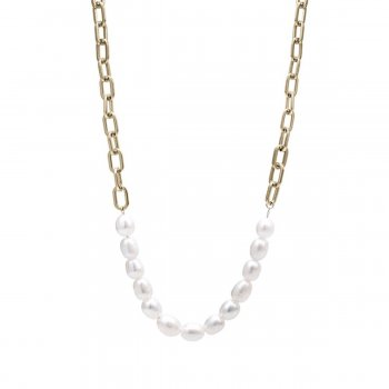 Pearl Link Necklace Gold