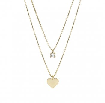Ice Heart Duo Necklace Gold