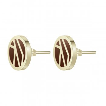 Rose Enamel Earring Brown/Gold