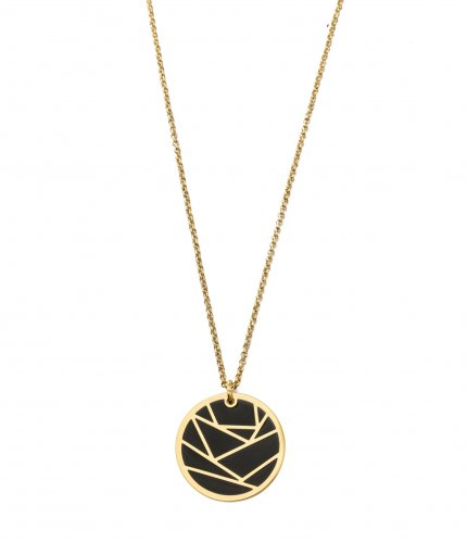 Rose Enamel Long Necklace Black/Gold