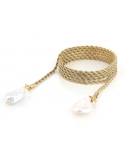 Devious Pearl Tie Necklace Gold