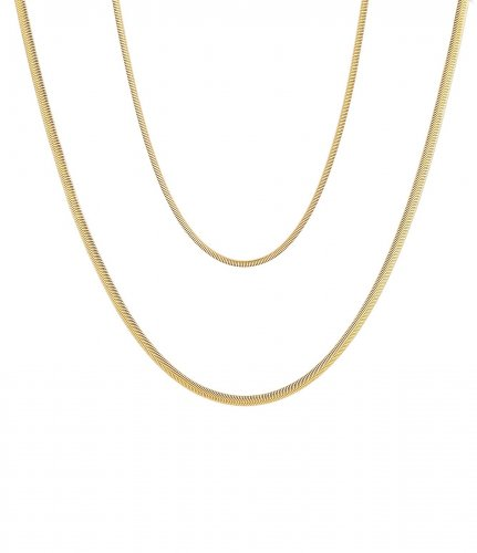 Snake Duo Short Necklace Gold