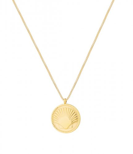 Shell Coin Short Necklace Gold