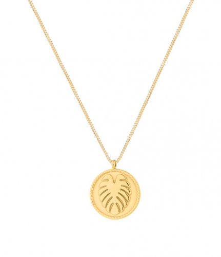 Palmleaf Coin Short Necklace Gold