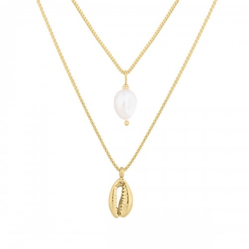 Beach Duo Necklace Gold
