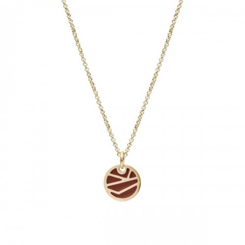 Rose Enamel Short Necklace Brown/Gold