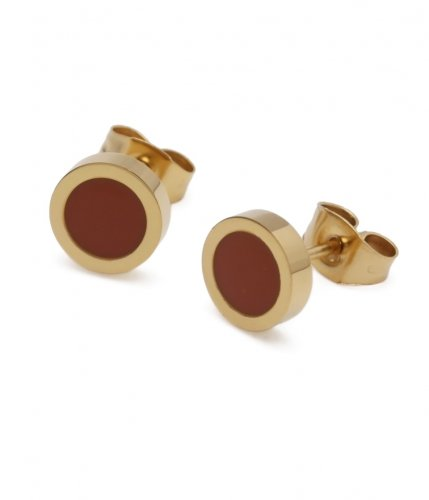 Faye Enamel Earring Brown/Gold