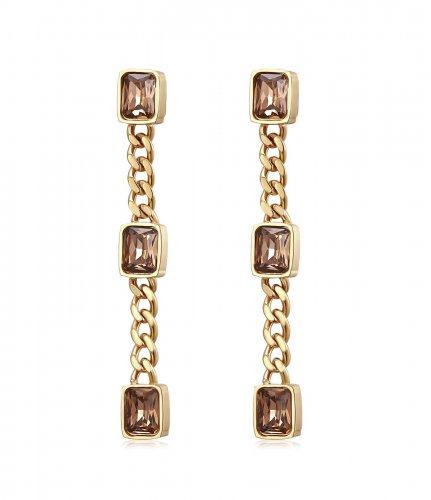 Fancy Long Earring Brown/Gold