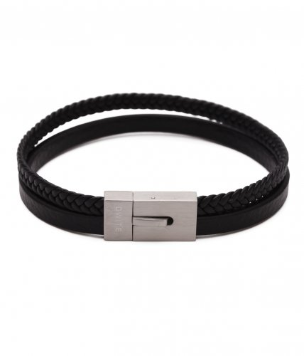Alvin Black Two Row Leather Bracelet
