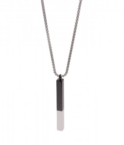 Anthony Black/Steel Bar Long Necklace 70cm